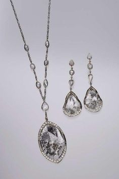 Sliced diamond necklace and earrings