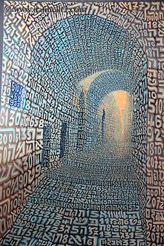 Hebrew Letters & Numbers make up this interesting painting.