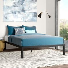 Great for Avey Heavy Duty Bed Frame Bedding Sale from top store Metal Platform Bed, Upholstered Platform Bed, Platform Beds, Panel Headboard, Panel Bed, Bookcase Headboard, Bed Frame Sizes, Queen Murphy Bed, Daybed With Trundle