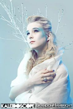 """Make Up, Wardrobe, Concept by Jessica Morris (Me). Hair by Eli Greene, Photography by Brandon Hambright.     """"Ice Princess"""". Inspired by Narnia's Ice Queen. I always thought of how she might have been when she was younger. Hopeful and good."""