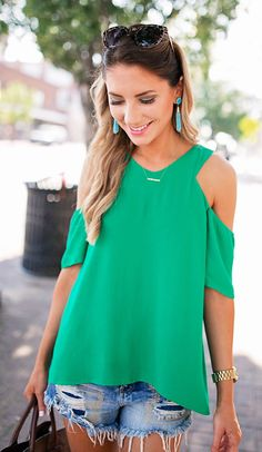 Green Open Shoulder Top & Ripped Denim Short