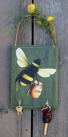 Bumble Bee House Key Organizer Plaque by TheBirchTurtleDove