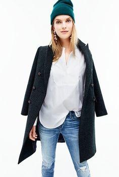 JCrew Fall 2015 - denim - white shirt - coat - beanies