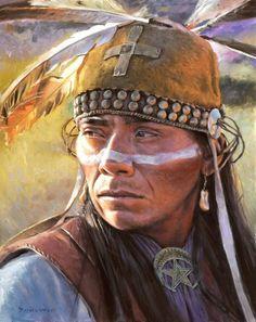 Western Apache Warrior - art by David Yorke