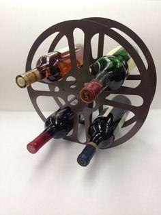New Style 16mm Film Reel Wine Rack Brown by ScrapIronDesigns