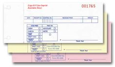 """Cash Receipts - 3 Part - Imprinted - Packaged 500 per pack. Easy way to track transactions. Part 1 is different from part 2 and part 3. • 6-1/2"""" x 2-5/16"""" (Logo & 4 Line Imprint Available Here) Part 1 • Carbonless – 3-part: White, Canary, Pink • Prints in Blue ink with Red numbering • Available crash imprinted in Red, Blue, Black or Green ink on quantities of 500 and up. Numbering is always in Red ink. • Packaged 500 per pack"""
