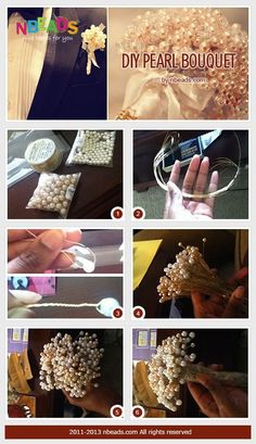 diy pearl bouquet for bridesmaids.