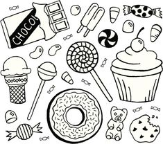 candy coloring pages Cute Doodles Drawings, Easy Drawings, Doodle Pages, Doodle Art, Bullet Journal Easy, Candy Coloring Pages, Chocolate Drawing, Candy Drawing, Bujo Doodles