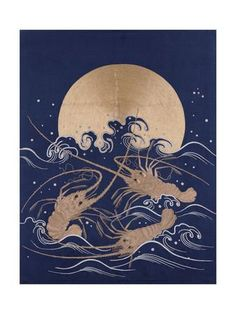 A Japanese Embroidered Textile Panel of Dark Blue Satin Depicting Three Crayfish Among Waves before Giclee Print at Art.com