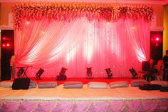Indoor Wedding Decor 1 - Package includes stage and entrace décor. Dimension:Stage backdrop : 12 feet length x 8 feet height. Stage Platform : 12 feet length x 8 feet height x 1.6 feet height