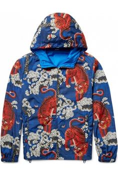 Homme Vestes - Gucci Printed Shell Hooded Jacket