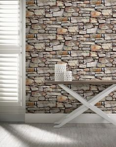 This fantastic Cornish Stone Wallpaper will add a stylish and contemporary finishing touch to any room. The high quality wallpaper recreates the look of a dry stone wall in natural tones of brown, with realistic detailing and shading to add to the effect. B&q Wallpaper, Brick Effect Wallpaper, White Brick Wallpaper, Brown Wallpaper, Textured Wallpaper, Pattern Wallpaper, Wallpaper Ideas, 3d Stone Wallpaper, Brick Wallpaper Living Room