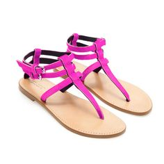 LEATHER THONG SANDALS - Flat sandals - Shoes - Woman - ZARA United States