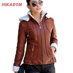 Hoody Faux Leather Jacket Women Jaqueta De Couro Feminina PU Suede Women's Short Motorcycle Biker Jacket Coat Chaquetas Mujer ** AliExpress Affiliate's buyable pin. Clicking on the VISIT button will lead you to find similar product on www.aliexpress.com
