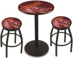 Virginia Tech Hokies D2 Black Pub Table Set. Available in two table widths. Visit SportsFansPlus.com for Details.