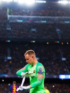 BARCELONA, SPAIN MAY Marc Andre Ter Stegen of FC Barcelona moments before the start of the UEFA Champions League Semi Final first leg match between Barcelona and Liverpool at the Nou Camp on May 2019 in Barcelona, Spain. (Photo by Eric Alonso MB M Champions League Semi Finals, Uefa Champions League, Fcb Barcelona, Barcelona Soccer, Fc Barcelona Wallpapers, Marc Andre, Goalkeeper, Lionel Messi, Football Players