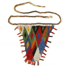 Ceremonial Cache-Sexe Bana Guili people  Mandara Mountains, Cameroon cotton stringing and glass beads imported early in the century from Bohemia These triangular pieces are worn by young girls