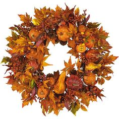 <li>Bring a wealth of natural beauty and outdoor freshness to any home decor with a pumpkin harvest wreath<li>Halloween decorative accessory features pumpkins, gourds, and berry sprigs of russet and gold<li>Wreath boasts leaves in every stage of change