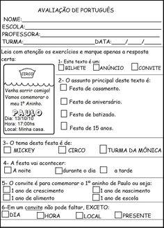 prova final de português para 3o ano - Pesquisa Google
