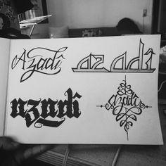 AZADÎ SKETCHES #azadi #tattoo #calligraffiti Azadi Tattoo, Kors, Freedom Tattoos, Graffiti, Typography, Sketches, Tumblr, Design, Letterpress
