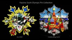 "Celebrate the upcoming  Sochi 2014 Winter Games with these limited production 3-D collectors pins.  The Fazzino-designed collectible pins ""Go USA"" and ""Celebrating Sochi."" are 4″ in diameter, constructed in three-layers, and come in a felt-lined collectors case with a see-through top."