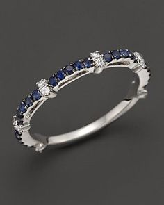 Sapphire and Diamond Ring in 14K White Gold | Bloomingdale's