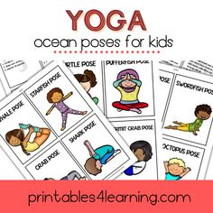 Yoga is a fantastic activity to get kids up and moving! This printable packet is filled with fun Ocean Animal Yoga Poses for Kids. It's perfect for the whole family, even if they don't know how to do yoga yet. Click here to download the printable pack now! Kids Up, Yoga For Kids, Animal Yoga, Childrens Yoga, Fish Pose, Bow Pose, Ocean Unit, Special Needs Kids, Kids Cards