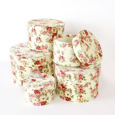Shabby Cottage Chic Rose Nesting Boxes, Set of 5