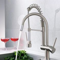 76.28$  Watch here - http://alidr2.worldwells.pw/go.php?t=32739870667 - 1PC High quality Dual Spout Kitchen Sink Faucet Deck Mount Spring Kitchen Mixer Tap Kitchen Hot and Cold Water tap 76.28$