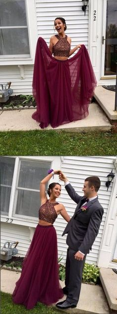 Two-pieces Halter Maroon Open Back burgundy Prom Evening Gowns With Beading Tulle Prom Dress,Party Dress by DestinyDress, $177.31 USD