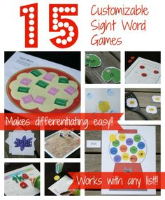 Editable Sight Words Set of 15 Games