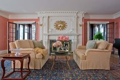 Cool Coral Wall Paint mode Boston Traditional Living Room Decoration ideas with area rug crown molding decorative pillows floral arrangement french doors interior doors leopard print