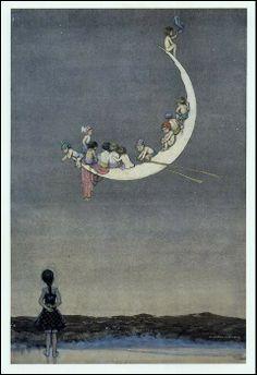 Moon art - Illustration by Heath Robinson. Good Night Moon, Illustrators, Moon Art, Fantasy Art, Painting, Illustration Art, Art, Beautiful Art, Vintage Illustration