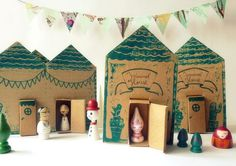 Cute wooden doll town