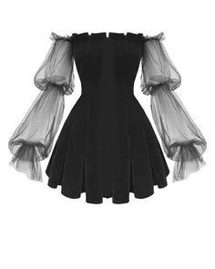 Gothic Off Shoulder Lantern Mesh Sleeve Mini Dress ROCK N DOLL Fashion doll Dress Gothic Lan Lantern mesh Mini rock Shoulder sleeve Edgy Outfits, Mode Outfits, Cute Dress Outfits, Gothic Outfits, Cosplay Outfits, Dress Casual, Pretty Dresses, Beautiful Dresses, Mini Prom Dresses