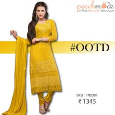 OUTFIT OF THE DAY #OOTD   Stunning yellow dress suit at just 1345/-   #shopnow #getiitnow #yellowdress #straightsuits #getthem #embroidery #indianstyle #indianfashion #peachmode #suits #pinterest #pinit #baords #womensclothing