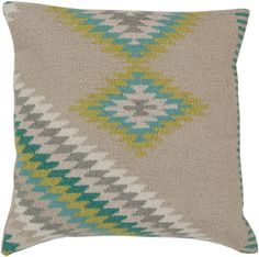 Oyster Gray/Aqua Surya Southwest Pillow #modish #southwest #newitems