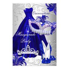 Masquerade Party Invitations Blue & Silver Dress masquerade Quinceanera Invite