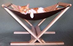 Cat Hammock by Tamar Gilad. This cat hammock assembles in seconds without tools, and can quickly be taken apart for storage and travel. Modern Cat Furniture, Pet Furniture, Furniture Design, Crazy Cat Lady, Crazy Cats, Hate Cats, Diy Cat Hammock, Hammock Ideas, Cat Room