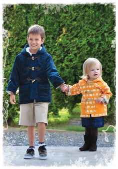 Fully lined, hooded coat with easy to install zipper. For a warmer coat, use interlining and line with warm fuzzy fabrics. Pockets, yoke and trim make this coat unique and fun to wear in any season. Trim with toggles or buttons and loops.Suitable fabrics:We used corduroy, cotton twill and cotton for our models. Wool and denim are also suitable.