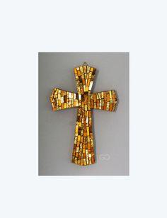 Croce Mosaico Oro     Art. L 770/ A di TesserediMosaico su Etsy
