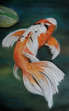 """12x18 Pastel Meet Ella, the largest butterfly Koi fish in our pond measuring 36"""" long. I look at her everyday so I decided to paint her port..."""