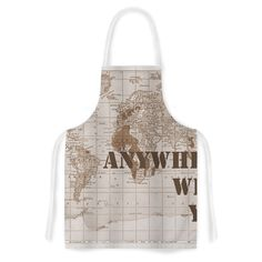 Kess InHouse Catherine Holcombe 'I'll Go Anywhere With You' Brown Map Artistic Apron