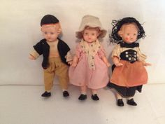 Vintage 1950's Celluloid French Provincial Dolls by WatermanBrook