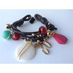 Brown Charm bracelet, turquoise red and brown bracelet, golden charm... (€16) ❤ liked on Polyvore featuring jewelry and bracelets
