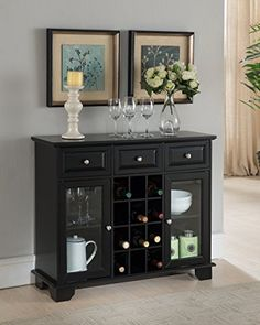 Kings Brand Furniture Buffet Server Sideboard Cabinet with Wine Storage, Black *** Click on the image for additional details.