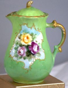 Antique Bavarian Or Nippon Style Small Hand Painted Porcelain Teapot