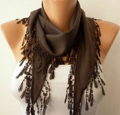 Brown Scarf  Headband Necklace Cowl by fatwoman, $13.50