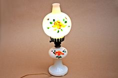 Table Lamp Bedside Lamp Milk Glass Lamp by FindsFromYesteryear