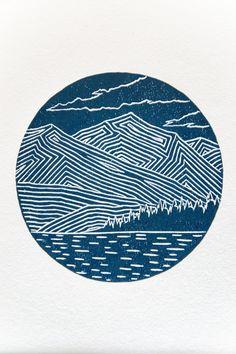 Mountain Linocut Print Wall Art New Zealand Lake Wanaka Gravure Illustration, Illustration Art, Lino Art, Mountain Illustration, Linoprint, Landscape Drawings, Linocut Prints, Lake Wanaka, Painting Inspiration